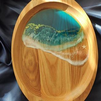 деревянное блюдо, поднос, тарелка, досточка из дуба и эпоксидной смолы резин арт