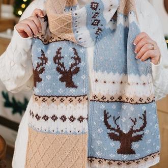 Вязаный шарф с оленями «Рафаэль»