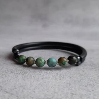 Женский браслет с натуральной африканской бирюзой. Браслет с натуральными камнями. Стильный браслет.