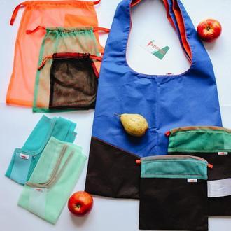 Универсальный набор для покупок ЭкоПрофи, шоппер и набор мешочков, 8 шт, Бесплат доставка