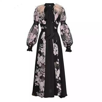 Шикарное вечернее платье перья, цветы, кружево