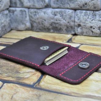 Чехол для карточек и визиток из натуральной кожи KAR01-800+red