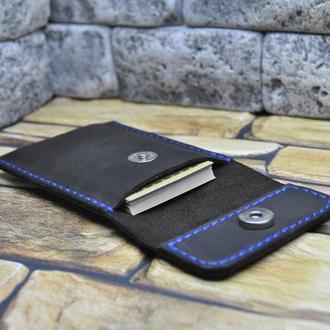 Чехол-карман для карт и визиток из натуральной кожи KAR01-600+blue
