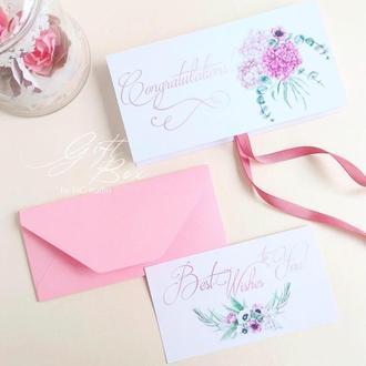 """Gift Box """"Sofia"""" Цвет 1 (розовый) - открытка в коробочке"""