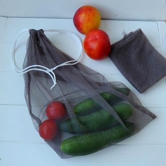 Эко мешок серый, еко мешочки для покупок, эко пакет, сеточка, фруктовка, мішечки zero weste