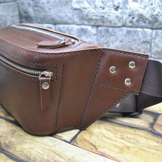 Поясная сумка из натуральной кожи PS01-brown