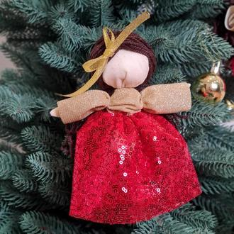 Новогодний декор елочная игрушка куколка золото с красным