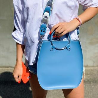 """Женская сумка """"Мальва"""" на плечо из натуральной кожи голубого цвета с оригинальным ремнём"""