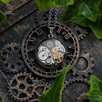 Мужской кулон из нержавеющей стали с настоящими деталями часовых механизмов (в наличии 1 шт.)