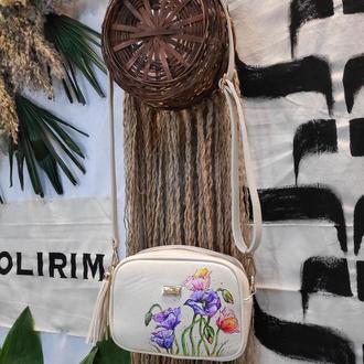 """Женская сумочка кроссбоди с росписью """"Акварельные цветы"""""""