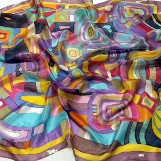 Шелковый платок Фрай Вилле. Натуральный шелк, 90*90