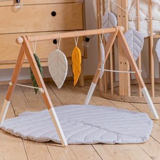 Развивающий комплекс: коврик и стойка с подвесками для развития малыша Grey leaf