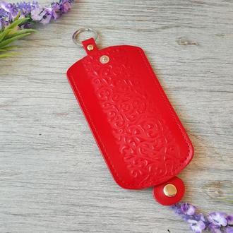 Кожаная ключница красная женская карманная для ключей с тиснением восточные узоры Украина кожа