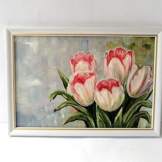 Картина маслом тюльпани, Картина квіти, Красиві квіти, Тюльпани маслом, Картина без рами