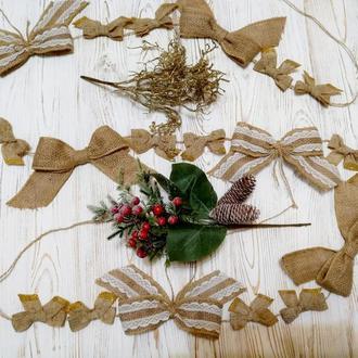 Гірлянда з мішковини для прикраси ялинки, сходи, двері. Різдвяні прикраси.