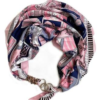 """Шелковый платок """"Морозное утро"""" от бренда my scarf, шейный платок, подарок женщине"""