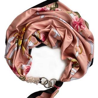 """Дизайнерский платок """" Персиковый уикенд""""  от бренда my scarf, шейный платок, подарок женщине"""