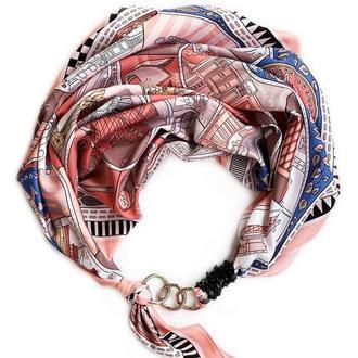 """Шелковый платок """"Итальянские каникулы""""  от бренда my scarf, шейный платок, подарок женщине"""