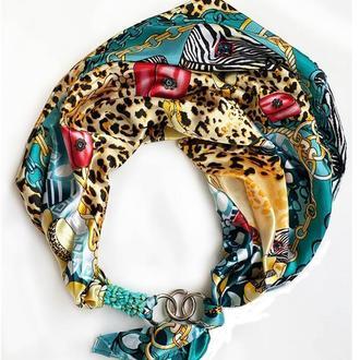 """Шелковый платок   """"Дикая кошка"""" от бренда my scarf, шейный платок, подарок женщине"""
