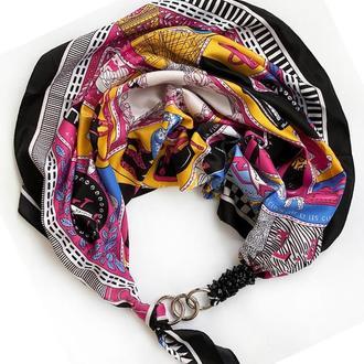 """Шелковый платок  """" Карнавал страсти"""" от бренда my scarf, шейный платок, подарок женщине"""