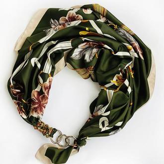 """Дизайнерский  платок """"Дикие орхидеи""""  от бренда my scarf, шейный платок, подарок женщине"""