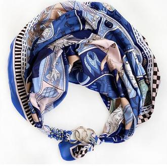 """Шелковый платок   """"Королевский синий"""" от бренда my scarf, шейный платок, подарок женщине"""