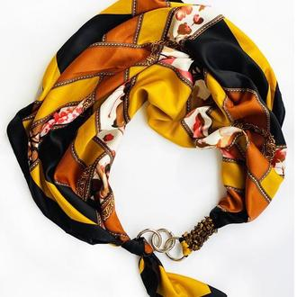 """Дизайнерский платок  """"Золото Египта"""" от бренда my scarf, шейный платок, подарок женщине"""