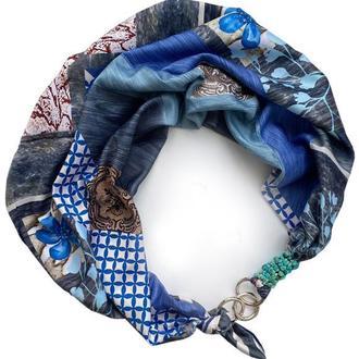 """Шелковый платок  """"Голубой океан"""" от бренда my scarf, шейный платок, подарок женщине"""
