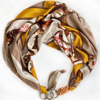 """Дизайнерский  платок  """"Золотой шелк"""" от бренда my scarf, шейный платок, подарок женщине"""