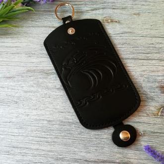 Кожаная ключница черная мужская карманная для ключей с тиснением орел Украина
