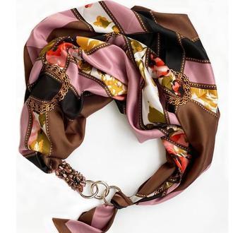 """Дизайнерский  платок """"Морозный шоколад""""  от бренда my scarf, шейный платок, подарок женщине"""