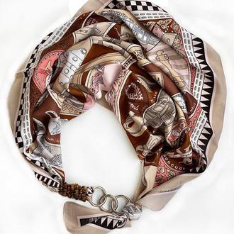 """Шелковый плато """"Мокко с карамелью""""  от бренда my scarf, шейный платок, подарок женщине"""