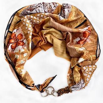 """Шелковый платок   """"Золотой песок"""" от бренда my scarf, шейный платок, подарок женщине"""