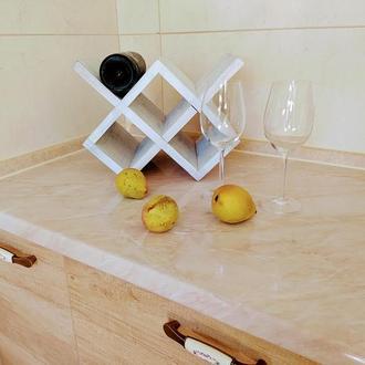 Настільна поличка для вина. Деревянная подставка для винных бутылок.