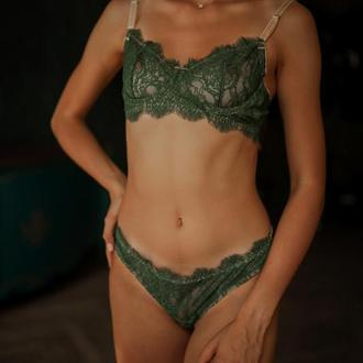 Изумрудный зеленый комплект женского белья балконет и бразильяна