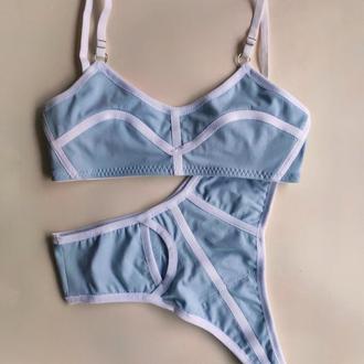Голубой спортивный комплект белья стринги и топ хлопок