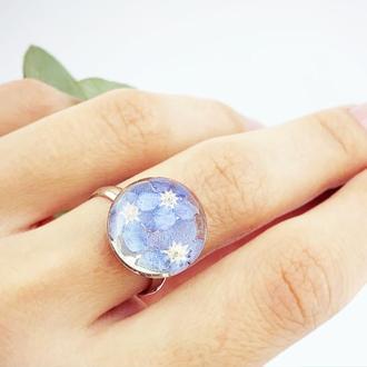 Нежное кольцо с незабудками в подарок девушке маме жене сестре (модель № 2671) Glassy Flowers
