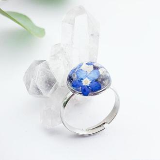 Миниатюрное кольцо с незабудками в подарок девушке жене сестре (модель № 2673) Glassy Flowers