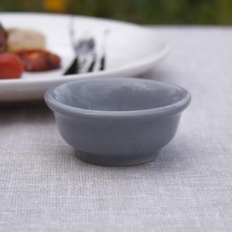 Соусник керамический серый, глянцевый, минипиала, чаша.