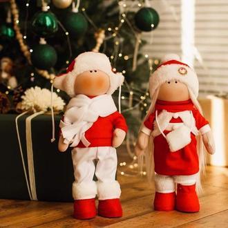 Новорічна Пара ляльок Санта і Снігуронька