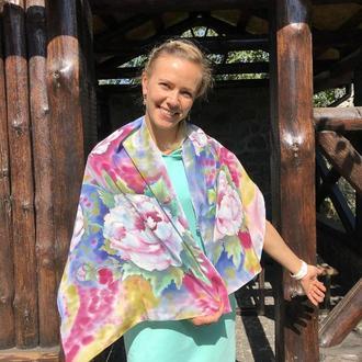 Шелковый шарф Пионовый, натуральный шелк
