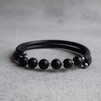 Черный женский браслет с шунгитом. Стильный браслет с натуральными камнями. Подарок.