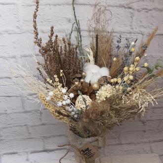 Букет эко натуральный с сухоцветами. Букет в стиле прованс