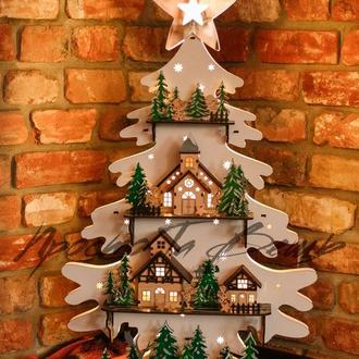 Дерев'яна новорічна ялинка підсвічуванням, новорічний декор