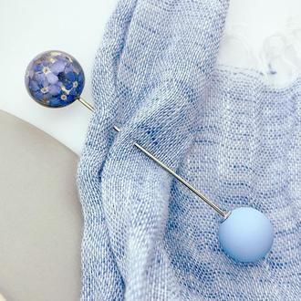 Брошь-игла с синими незабудками Булавка шпилька с цветами (модель № 2678) Glassy Flowers