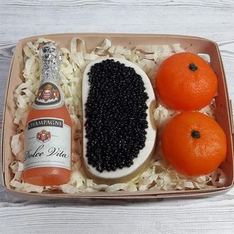 """Набор мыла """"Шампанское Dolce vita бутерброд с черной икрой и мандарины"""""""