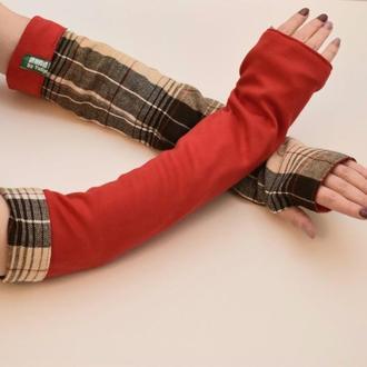 Супер длинные красные митенки рукава, двусторонние трансформеры