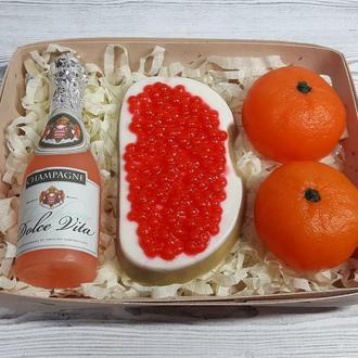 """Набор мыла  """"Шампанское Dolce vita бутерброд с красной икрой и мандарины"""""""