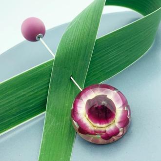 Брошь-игла с гелихризумом Булавка шпилька с цветами (модель № 2680) Glassy Flowers