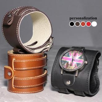 Гипоаллергенный прошитый кожаный ремешок для часов, код 5030ст